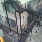 Steel fire escape stairs at Tarmac