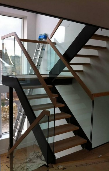 Perfect Double Stringer Staircase With Resin Fixed Frameless Glass, Timber Treads  And Top Rail