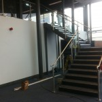 Steel staircase with stainless steel balustrade at a gym in Dudley.