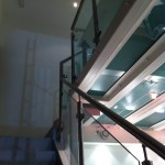 Straight stairs with stainless balustrade