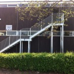 Galvanised steel fire escape staircase