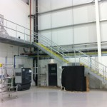 Galvanised steel staircase at Birmingham Airport