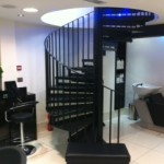 Spiral staircase at a hair salon in London