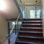 Steel staircase with stainless steel balustrade plus gallery landing