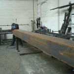 Steel box section for bridge being welded