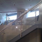 Stainless steel balustrade up stairs and across landing
