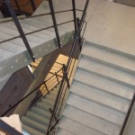 Steel staircase with balustrade