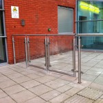 Stainless steel balustrade double gates with glass infill panels