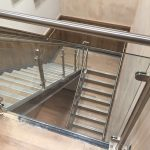 Stainless steel balustrade with glass infill panels