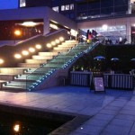Frameless glass balustrade at The Mailbox at night