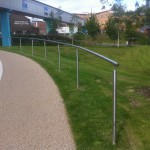 External stainless steel handrail at Queen Elizabeth Hospital, Birmingham