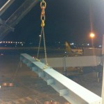 Steelwork being lifted into airport building
