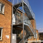 Four flight galvanised steel fire escape staircase