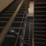 Stainless steel running rail balustrade to staircase