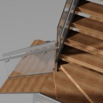 3D visualisation of a staircase with frameless glass balustrade