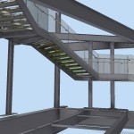 3D render of new feature staircase with frameless glass balustrade