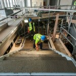 Concrete infill to feature stairs at John Lewis Birmingham