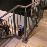 New customer staircase, RHS stringers and mild steel balustrade all powder coated, stainless steel handrail