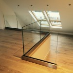 Internal frameless glass balustrade with base fixed U-channel and no top rail