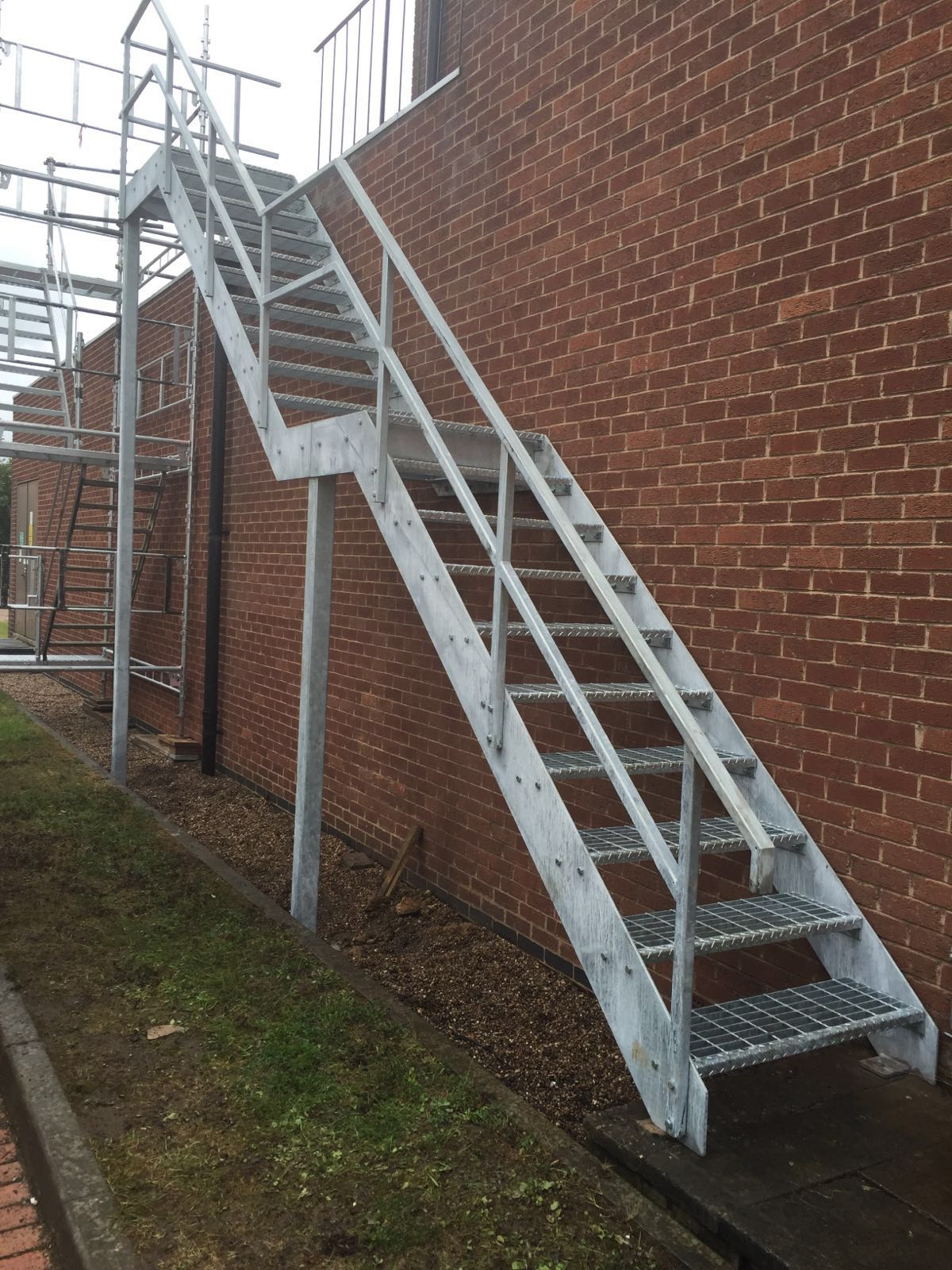 ... Steel Fire Escape Stairs With Open Grille Treads, Galvanised Finish ...