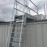 Galvanised ships ladder to roof