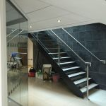 Steel staircase with stainless steel balustrade