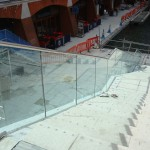 Frameless glass balustrade down slabbed stairs