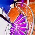 Stainless steel balustrade around spiral staircase