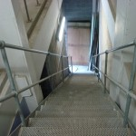 Steel stairs with handrail standards