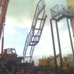Stairs being craned into place
