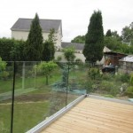 Frameless glass terrace balustrade no top rail
