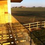 Frameless glass balcony balustrade before top rail install