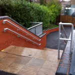 Not cold to touch handrail up stairs