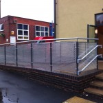 Not cold to touch balustrade with aluminium perforated infill panels