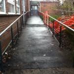External balustrade up ramp