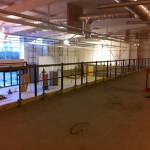 Mezzanine floor with stainless steel balustrade upright posts