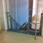 Stainless steel balustrade prior to glass infill panels
