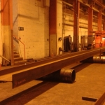 Steel walkway being rolled