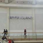 River Island sign framework manufactured from stainless steel
