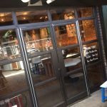 Metal mild steel door frame with glass infill panels