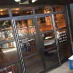 Metal mild steel door frame with glass infill panels