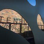 Metalwork frame with SHS, mistletoe shapes, mesh infills and laser cut letters