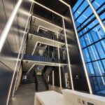 Steel staircase at Cambridge Science Park